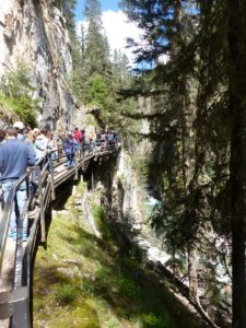 Drukte op de 'catwalk' in Johnston Canyon